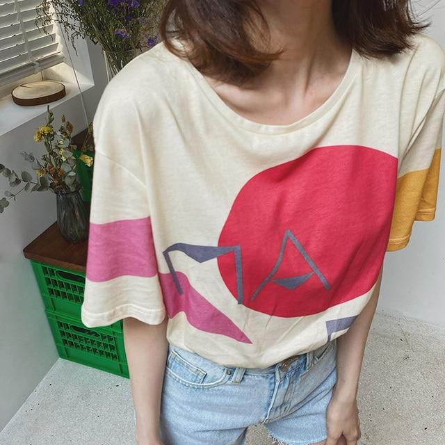 Women Spring Casual T-shirt Tees , Shirts & Tops Women color: Gray|Light yellow