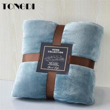 Tongdi super macio quente fannel velo lance cobertor sólido capa de sofá para o inverno durante toda a temporada máquina lavar colcha de pelúcia