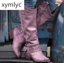Женские высокие кожаные ботинки на молнии в стиле ретро офисная