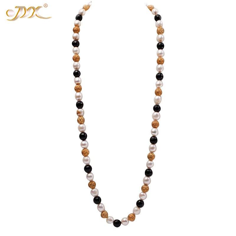 JYX 12 мм естественный белый барокко пресноводный жемчуг с резным черным агатом ожерелье для оперы ювелирные изделия подарок для женщин