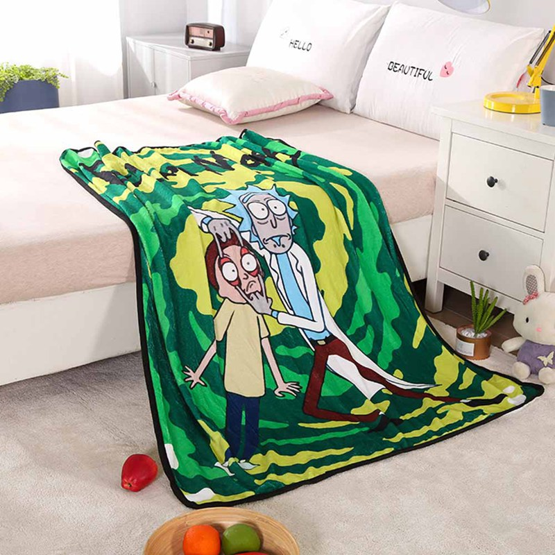 Rick And Morty Sherpa Blanket Bedspread Anime Print Fashion Popular Quilts Travel Office Hot Sell