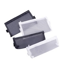 Simple Transparent Mesh Pencil Case Office Student Pencil Cases Gauze Pen Box School Stationery Learning Supplies(China)