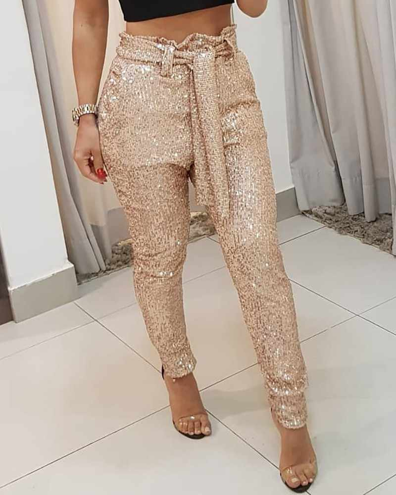 Women Sequins Belted Slinky Pencil Pant 2019 New Solid Black/Gold Female Bling Party Nightclub Trousers