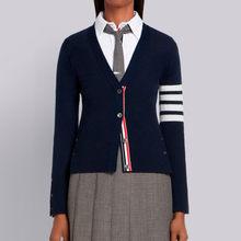 2021 moda tb thom marca suéteres feminino fino ajuste com decote em v cardigans roupas listrado algodão primavera e outono casaco casual