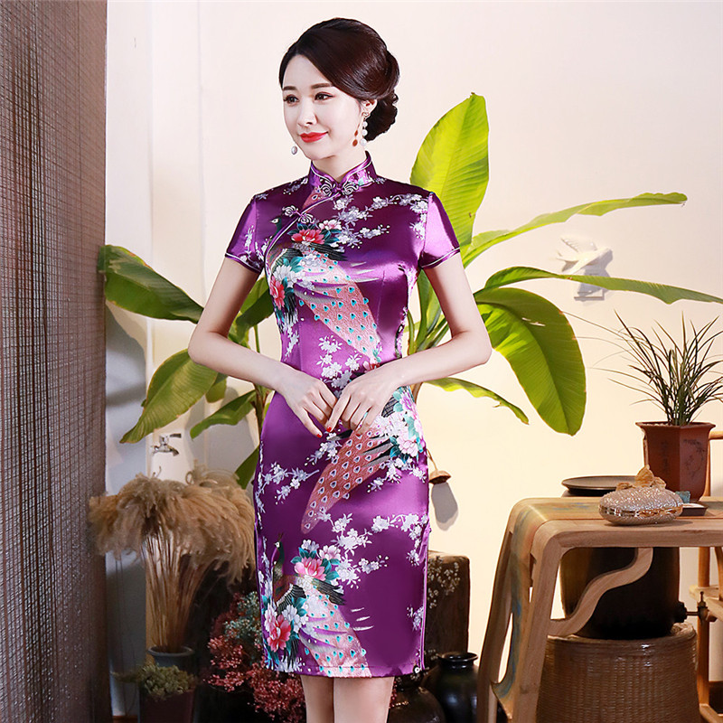 Women Satin Qipao Sexy Party Wedding Dresses Slim Short Sleeve Qipao Evening Gown Traditional Chinese Style Classic Cheongsam
