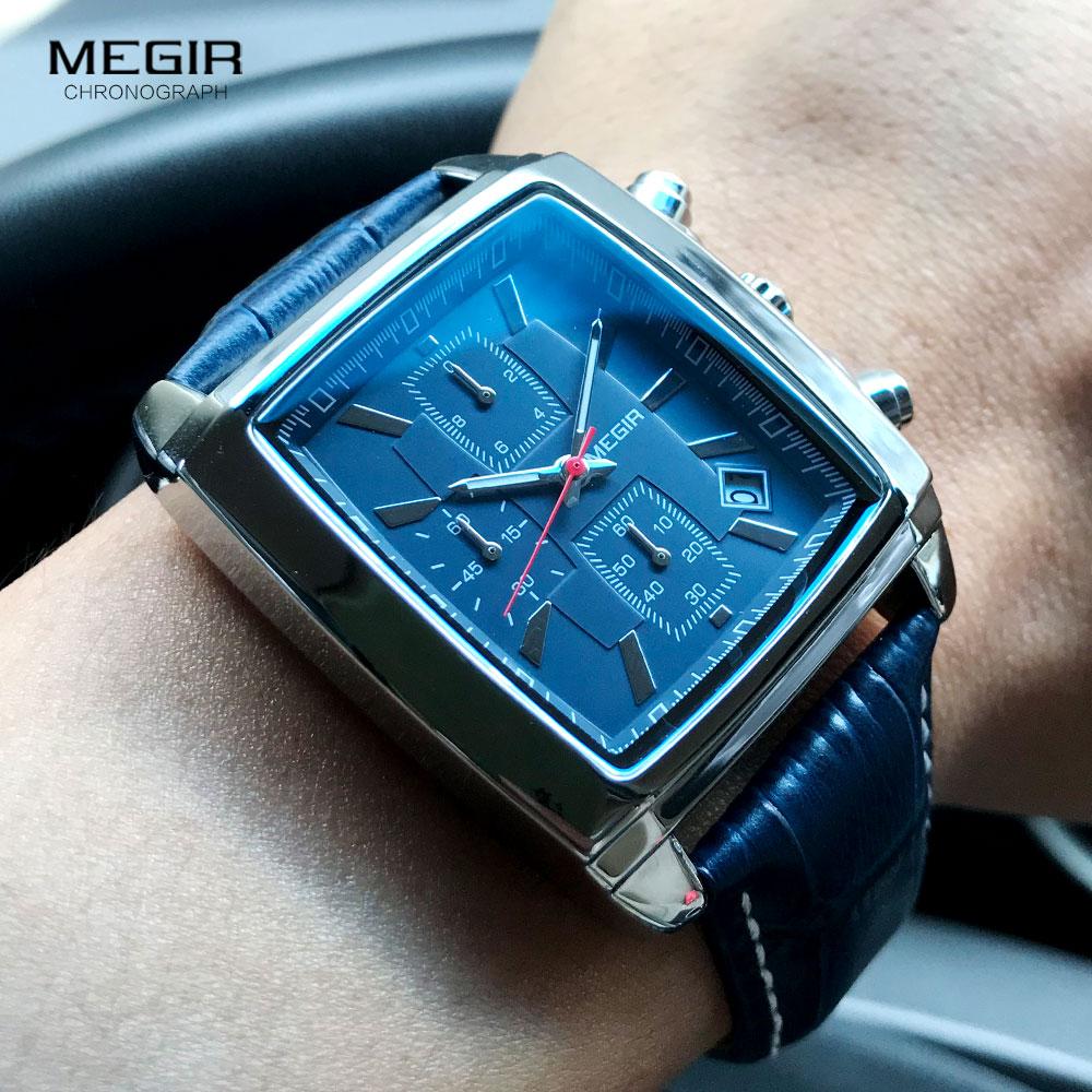 Megir Rectangle Dial Leather Strap Watch for Men Casual Blue chronograph quartz watches Man Wristwatch montre reloj часы мужские 3