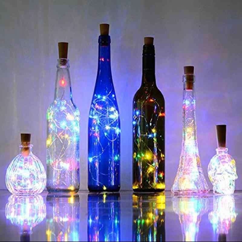 Metermall 2M 20 LED Botol Anggur Lampu Cork Garland Diy LED Cork Bentuk Perak Tembaga Kawat Warna-warni Fairy Mini string Lampu