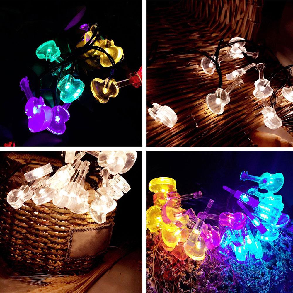 LED Light String Solar Powered Violin Shape Fairy Lights Festival Decorations