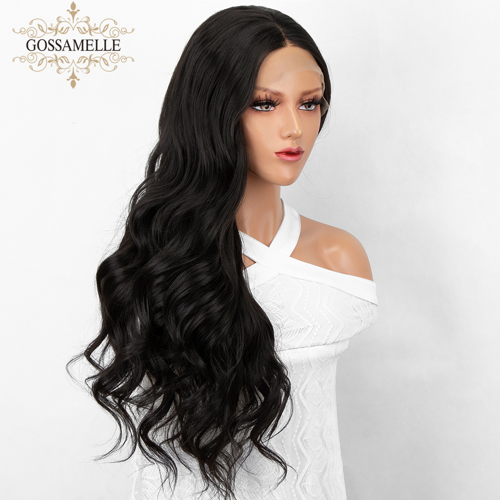 Gossamelle Black Synthetic Lace Front Wig Long Wave Synthetic Wigs For Women Cosplay Wigs Heat Resistant Fiber African American