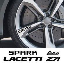4PCS Car Wheel Rim Stickers For Chevrolet Lacetti Cruze Captiva Equinox Trax Impala Camaro Z71 Sonic Spark Sail Aveo SS Malibu