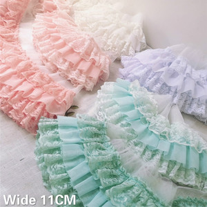 11CM Wide Three Layers Pleated Chiffon Fabric Guipure Lace Embroidery Fringe Ribbon Ruffle Trim Dolls Clothes Dress Sewing Decor