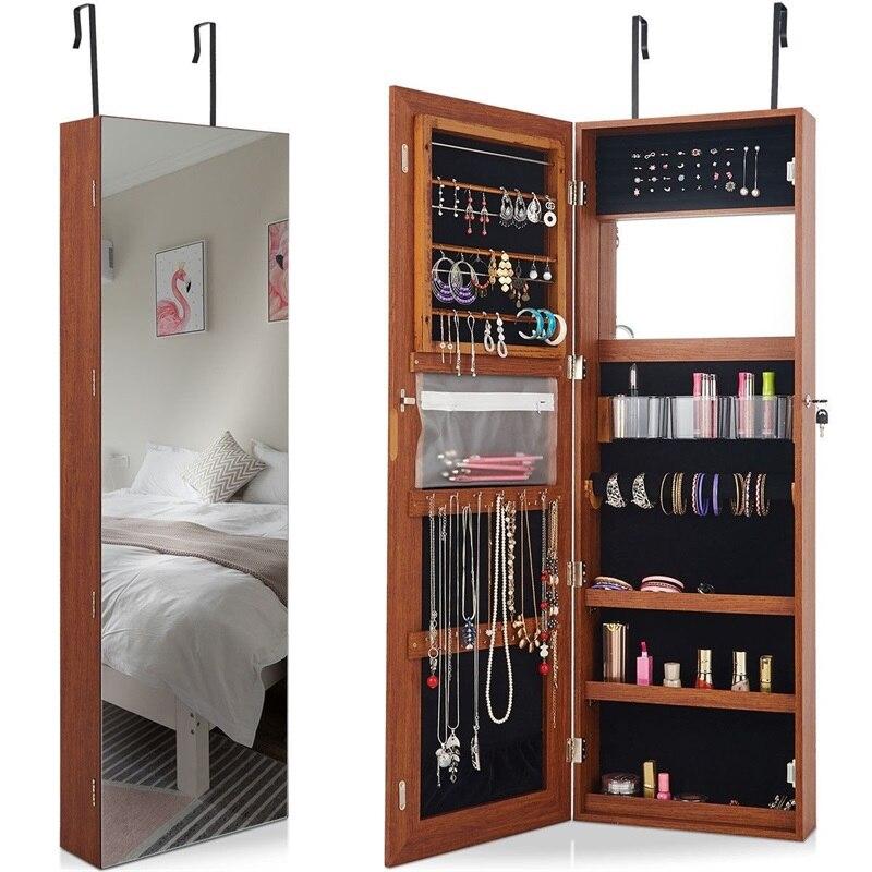US $85.41 32% OFF|Lockable Storage Jewelry Cabinet with Frameless Mirror  Morden Bedroom Door Mounted Storage Bins Jewelry armoire cabinet HW60386-in  ...