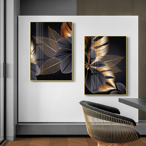 Image 4 - Black Golden Plant Leaf Canvas Poster Print Modern Home Decor Abstract Wall Art Painting Nordic Living Room Decoration Picture