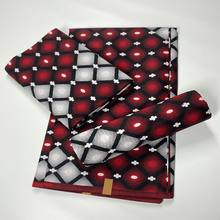 ホット販売アフリカワックス生地綿素材ナイジェリアアンカラブロックプリントバティック高品質縫製布6ヤードA211-28