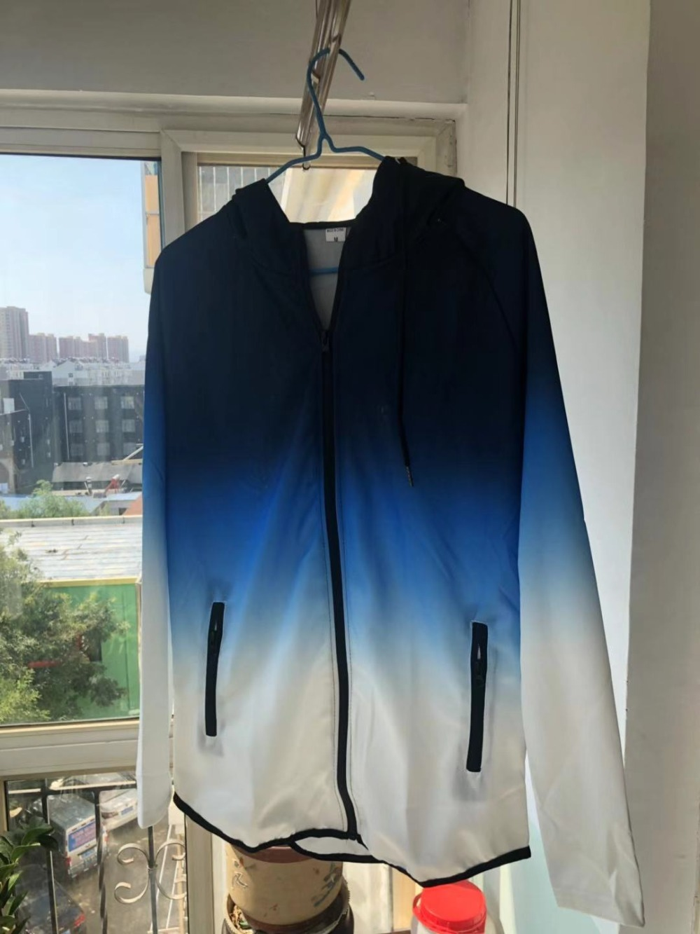 H5324ad8d589a4cae9b8d7a9a69aa007aN spring men jacket fashion gradient color thin hooded sweatshirt mens slim zipper Cardigan brand outerwear hoodies streetwear Top