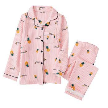 Piżamy damskie zestawy jesienno-zimowa nowe damskie piżamy odzież bawełniana długie topy zestaw kobiece zestawy piżam NightSuit Homewear tanie i dobre opinie COLOR OF HEART Drukuj COTTON Skręcić w dół kołnierz P-110812 Pełna Pełnej długości Winter Large Size Autumn Winter