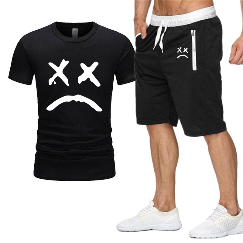 Summer Hot Sale Men's Sets T Shirts+shorts Two Pieces Sets Li Peep Print Casual Tracksuit New Male Casual Tshirt Short 4XL Set