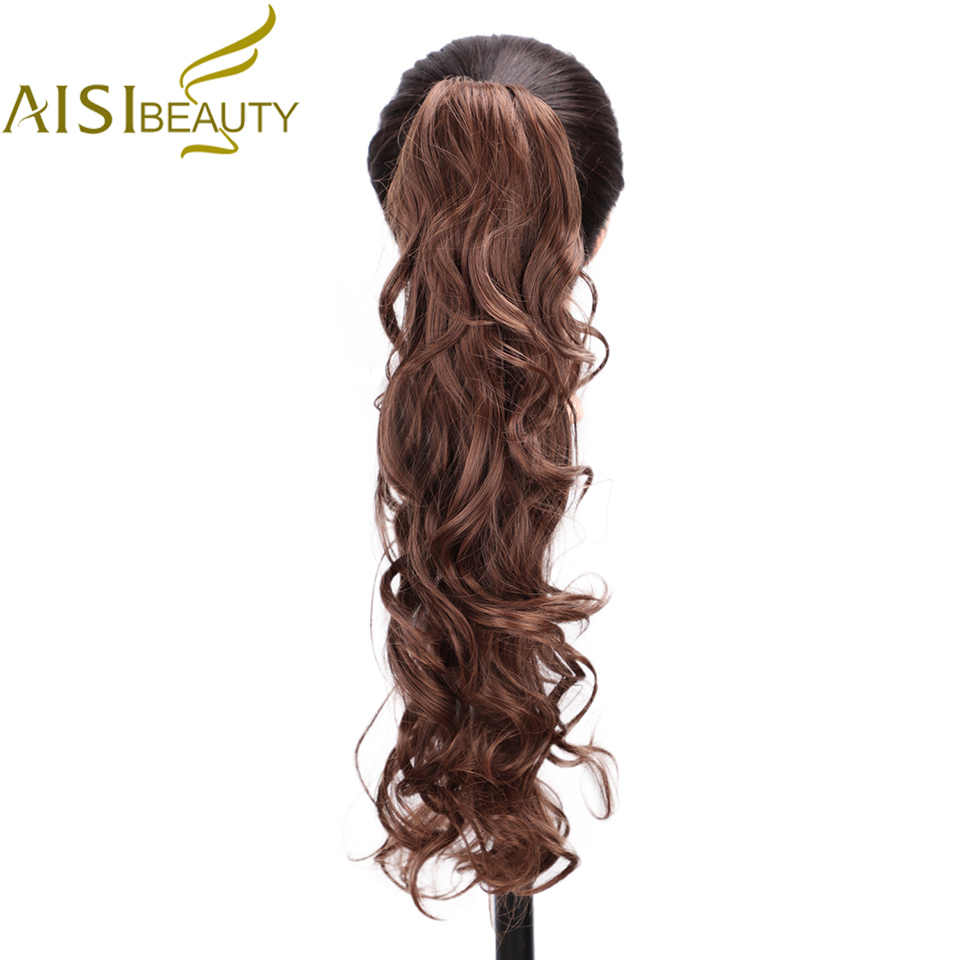 AISI BEAUTY Synthetic Claw on Ponytail Hair Extension Fake Ponytail Hairpiece for Women Black Brown Tail Hair Extension Hair