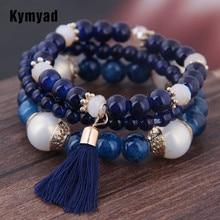 Kymyad Bohemian 3pcs/ Set Tassel Charm Pendant Beads Bracelets For Women Simulated Pearl Jewelry Womens Bracelet Boho