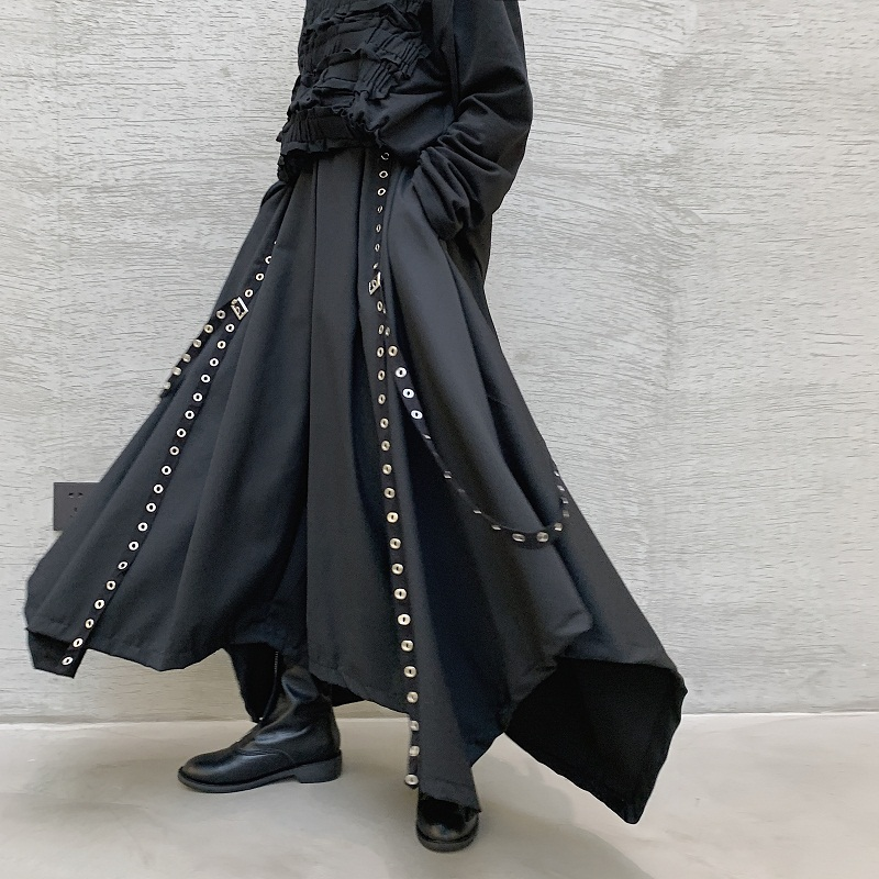 Men Ribbon Dark Black Wide Leg Pants Male Women Japan Streetwear Punk Gothic Harem Trousers Kimono Skirt Pants
