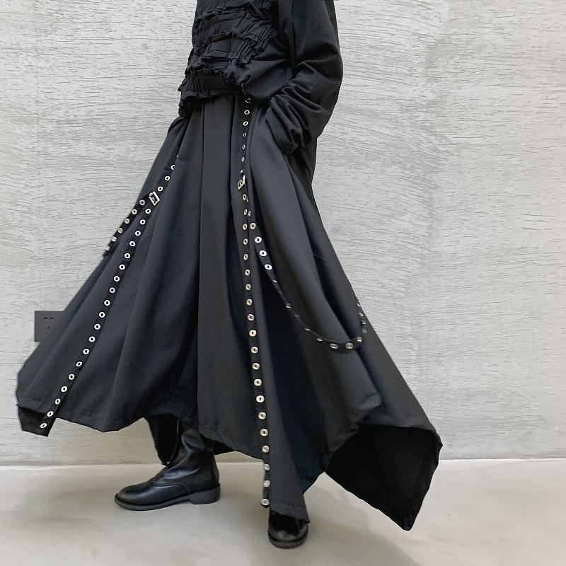 Men Ribbon Dark Black Wide Leg Pants Male Women Japan Streetwear Punk Gothic Harem Trousers Kimono Skirt Pants