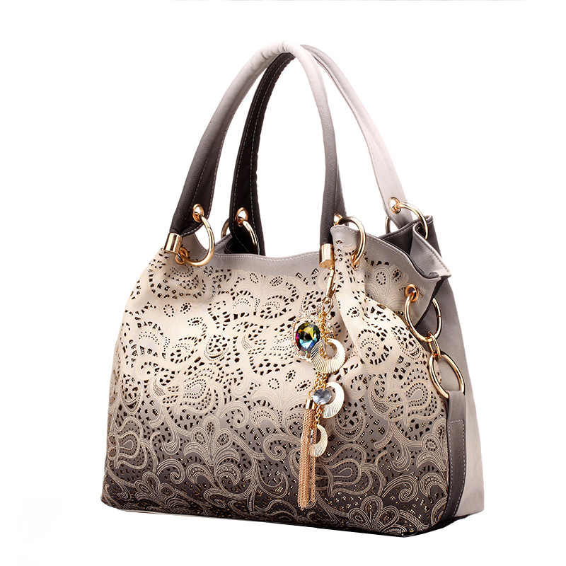 Female Bags for Women Hollow Out Ombre Handbags Floral Print Shoulder Bags Ladies Tote Bag Female Tassel Handbag Top-handle Bags