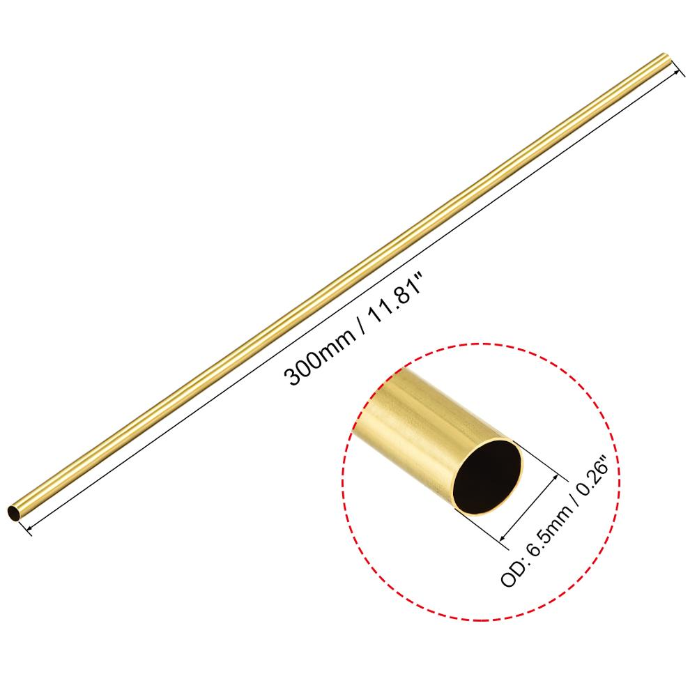 Brass Round Tube 300mm Length 3.5mm OD 0.5mm Wall Thickness Seamless Tubing 2pcs
