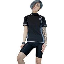 Haleychan feminino trans lésbica tomboy zip up peito binder secagem rápida roupa de banho maiô espartilho colete tanque + calças de natação