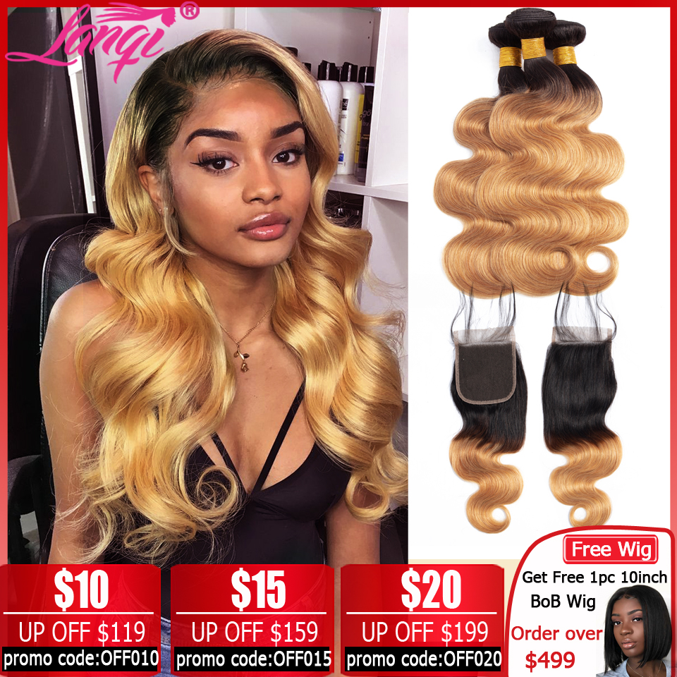 Brazilian Body Wave Bundles With Closure Ombre Bundles With Closure Two Tone Human Hair Weave T1B/27 Blonde Bundles With Closure