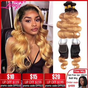 Brazilian Body Wave Bundles With Closure Ombre Bundles With Closure Two Tone Human Hair Weave T1B/27 blonde bundles with closure(China)