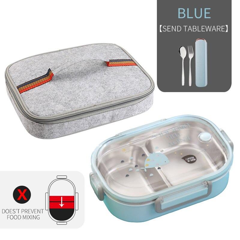 WORTHBUY японский Ланч-бокс для детей школы 304 из нержавеющей стали бенто Ланч-бокс герметичный контейнер для еды детская коробка для еды - Цвет: C Blue Bag Set