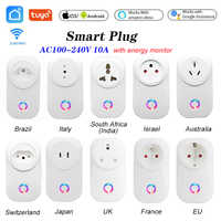 Enchufe inteligente con WIFI para el hogar, toma de corriente con WIFI, Swit AU, BR, FR, JP, Ita, ZA, Control por aplicación, 10A, Alexa, Google, Monitor de energía para el hogar