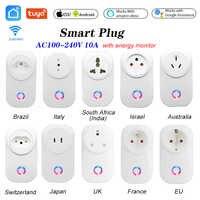 Tuya WIFI Smart Steckdose Smart Stecker EU UK Swit AU BR FR JP Israel Ita ZA Stecker 10A Fernbedienung alexa Google Home Energy Monitor