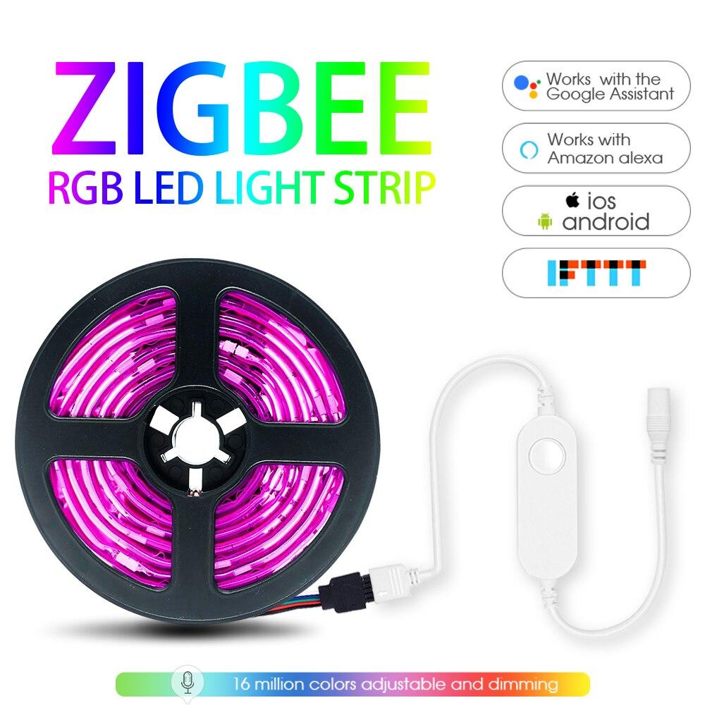 Inteligente rgb led luz tira 5m kit led zigbee mini controlador smartthings app controle de voz trabalho com alexa echo smartthings hub