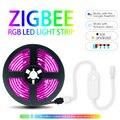 Умная цветная (RGB) светильник лента 5 м набор с Zigbee светодиодный Управление; Приложение голосовой Управление работать с Alexa и SmartThings H * U * E/каче...