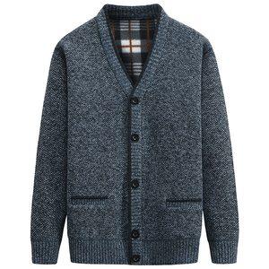 Зимний мужской свитер с v-образным вырезом, однотонный облегающий трикотаж, мужские свитера, кардиган, мужские топы, толстый теплый вязаный ...