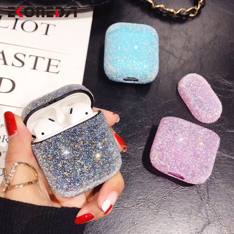 EKONEDA Bling Luxury Diamonds Case For Airpods Case Candy Colors Girl Protective Cover For Airpods 2 Airpods Pro Earphone Cases