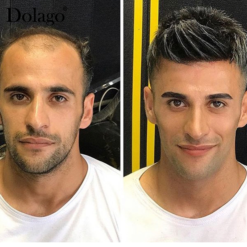 "Men's Toupees Swiss Lace Strips 8X10"" Mono Durable Thin Skin Injected Black Repacement Hair Prosthesise Dolago Silk Base Hair"