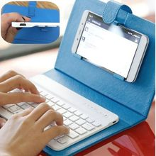 Portable Bluetooth Keyboard Case Mobile Phone Wireless PU Leather Protective Cover