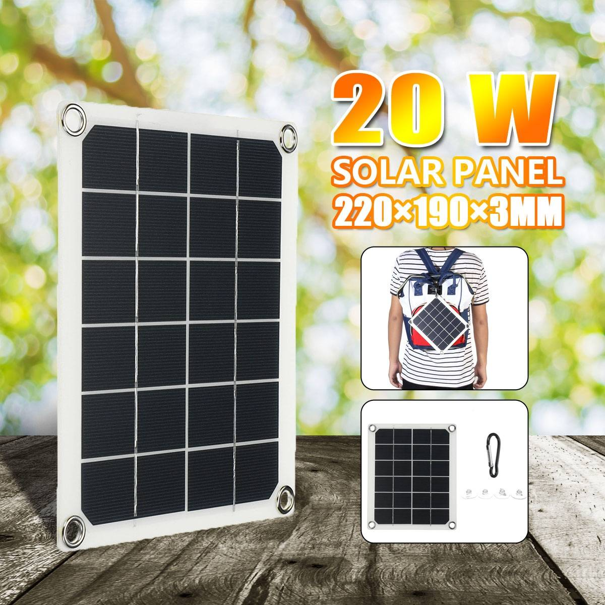 20W DC5V Solar Panel Single Crystal Solar Panel Charging Automotive Flexible Energy Saving Phone Battery Charger 5V USB 2.0 Port image