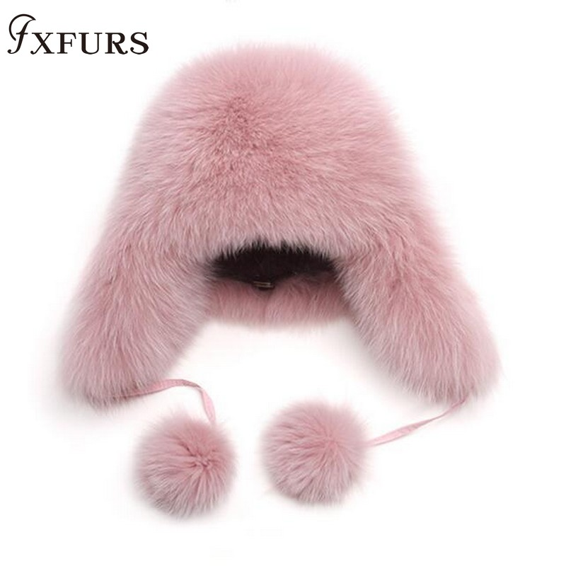 2019 New Fur Hat Women Natural Raccoon Fox Fur Russian Ushanka Hats Winter Thick Warm Ears Fashion Bomber Cap Raccoon Snow Caps