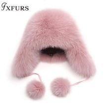 2019 New Fur Hat Women Natural Raccoon Fox Fur Russian Ushanka Hats