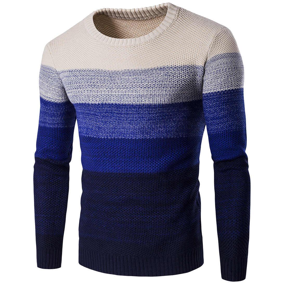 Camisola de inverno 2020 casual de malha de algodão macio o pescoço blusas pulôver outono nova moda listrado camisola casaco masculino