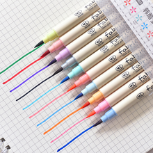 10 colors/box Korea beauty pen color set painting highlighter soft head brush dazzling calligraphy comic waterpen