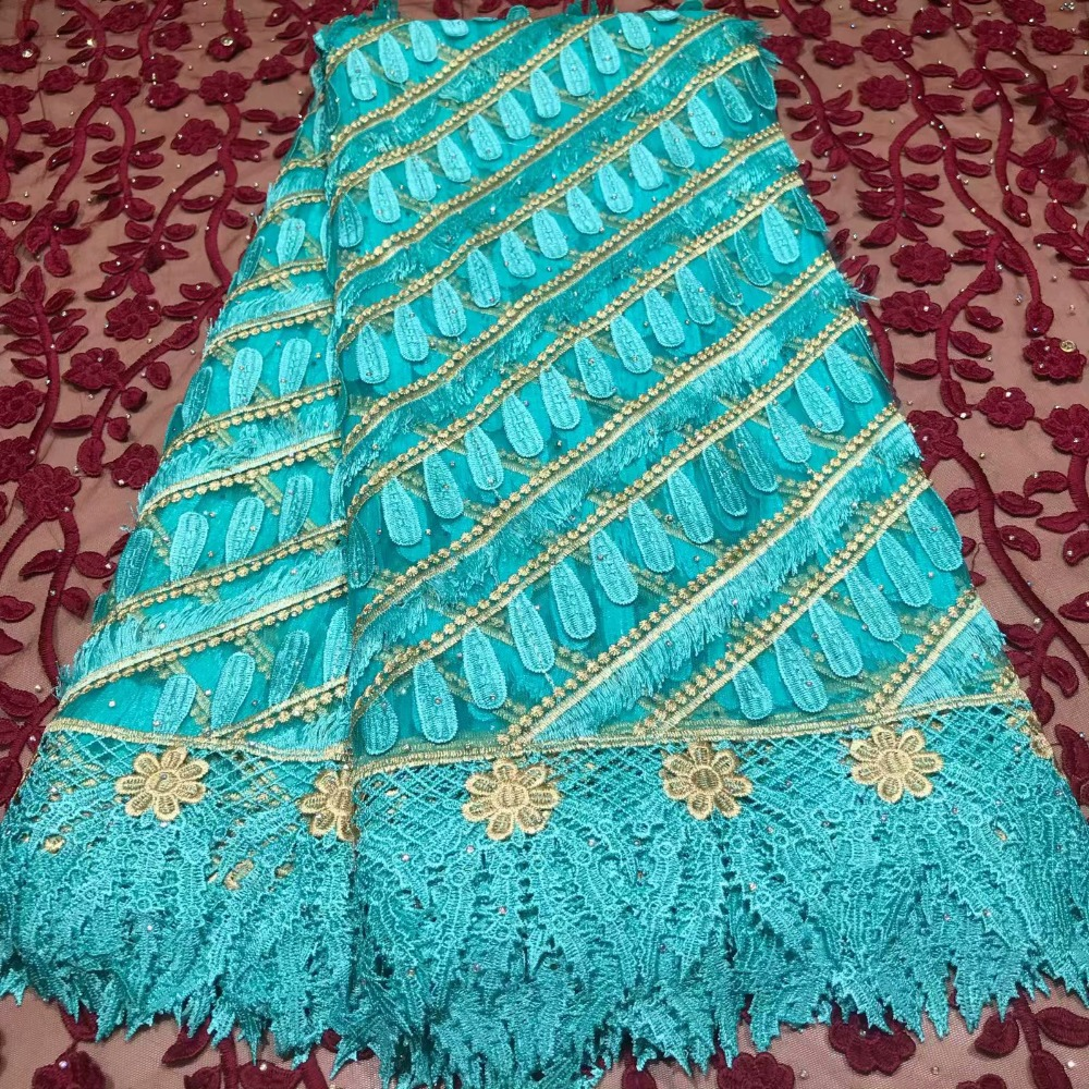 African Lace Fabric For Wedding Embroidery Swiss Voile Lace Nigerian Beaded Tulle French Lace Fabrics With Stones Rhinestone