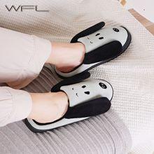 WFL kobiety buty miękka przytulna stado karton pies drukuje antypoślizgowa podeszwa dom zimowy kapcie wewnątrz sypialnia ciepłe bawełniane pantofle