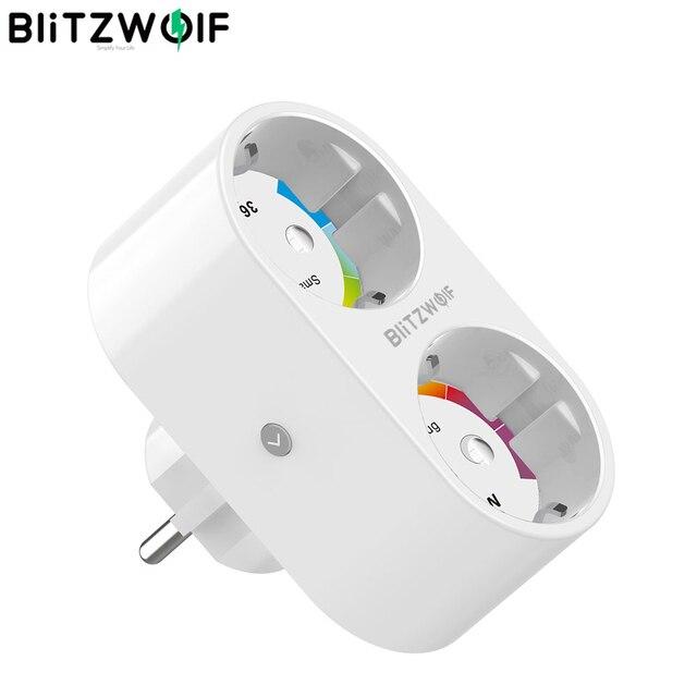 BlitzWolf BW SHP7 3680W 16A çift çıkış ab tak akıllı WIFI soket APP uzaktan kumanda ile çalışmak Google asistan/amazon Alexa