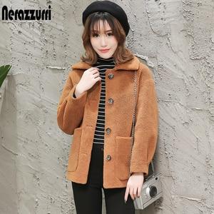 Image 4 - Nerazzurri womens sheepskin coats winter warm plus size plush faux fur coat regular beige lamb wool teddy bear jacket woman 5xl