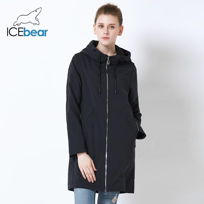 ICEbear 2019 Women' Autumn Windbreaker Single Row Zipper Design Casual Fashion Women Trench Coat Long Brand Apparel GWF19013I