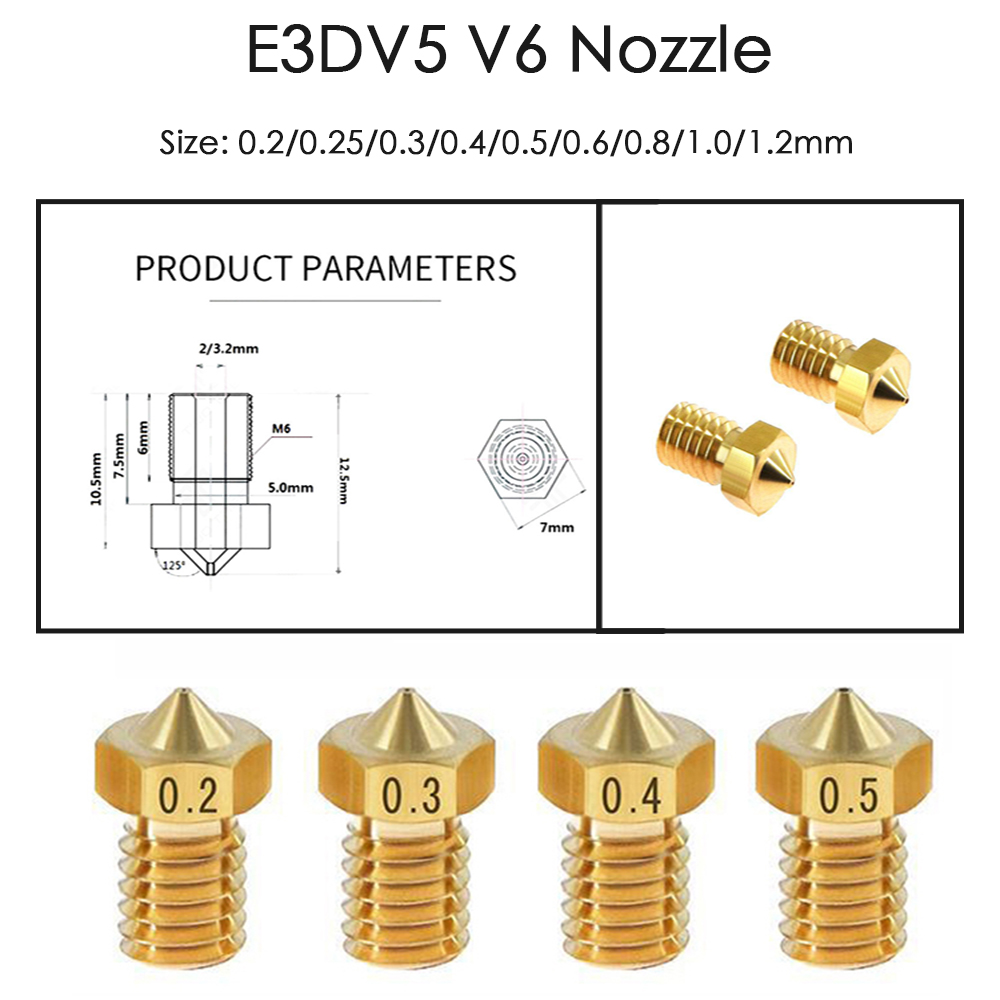 20pcs/lot 3D printer parts 3D V6&V5 J-Head brass nozzle extruder nozzles 0.3/0.4/0.5mm For 1.75/3.0mm supplies